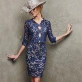 Синее короткое вечернее платье от Проновиас
