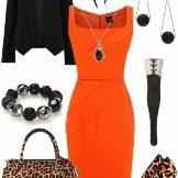 Оранжевый с черным и леопардовым принтом