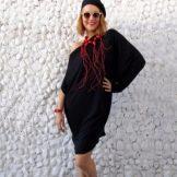 Платье с асимметричным верхом - асимметричный рукав