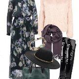 """Длинное шифоновое платье-рубашка и аксессуары к нему для женщин с фигурой """"Стройная колонна"""""""