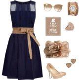 Аксессуары для темно-синего расклешенного платья