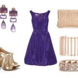 Аксессуары для фиолетового расклешенного платья