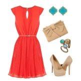 Аксессуары для красного расклешенного платья
