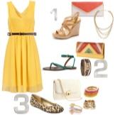 Аксессуары для желтого расклешенного платья