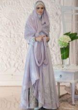 Сиреневое свадебное мусульманское платье