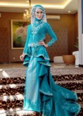 Бирюзовое мусульманское свадебное платье