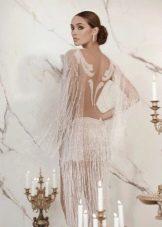 Откровенное платье свадебное мини с прозрачной юбкой