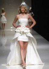 Свадебное платье футляр с накладным шлейфом