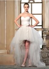 Свадебное платье короткое с шифоновым шлейфом