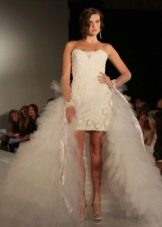 Свадебное платье футляр со съемной юбкой