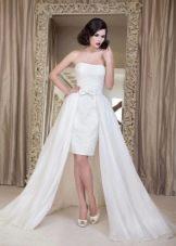 Свадебное платье короткое со шлейфом от Юсуповой