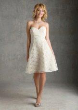 Свадебное платье миди с ажуром