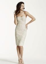 Свадебное платье миди облегающее
