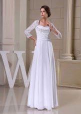 Свадебное платье в греческом стиле с кружевнимы рукавами
