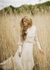 Свадебное платье в стиле рустик закрытое