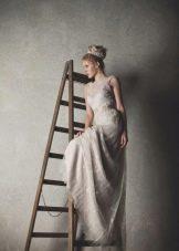 Свадебное платье в стиле рустик пудрового цвета