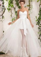 Свадебное платье короткое со съемной юбкой