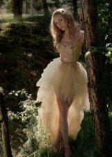 Кружевное короткое свадебное платье со съемной юбкой