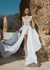 Свадебное платье короткое с накладной юбкой