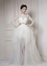Свадебное короткое платье с длинной съемной юбкой из фатина