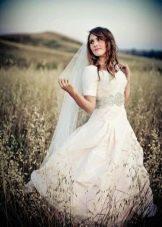 Свадебное платье для венчания с прозрачными рукавами