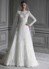 Закрытое атласное свадебное  платье русалка