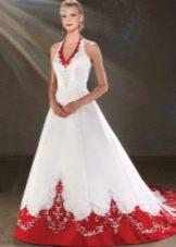 Свадебное бело-красное платье со шлейфом от Bonny Bridal