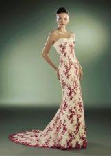 Свадебное платье русалка с красными цветами