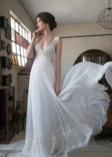 Свадебное платье из шелка в стиле ампир