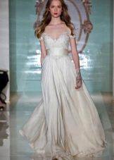 Свадебное платье в стиле ампир с кружевным верхом