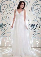 Свадебное платье ампир с декором на плече