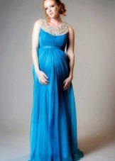 Синее свадебное платье для беременных