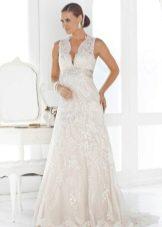 Кружевное свадебное платье в стиле ампир для беременных