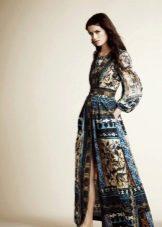 Сине-бежевое вечернее платье