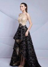 Бежево-черное вечернее платье