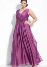 Сиреневое вечернее платье ампир для полных