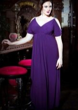 Фиолетовое вечернее платье ампир для полных