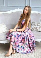 Цветное сиреневое платье вечернее