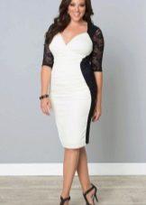 Бело-чорное вечернее платье для полных
