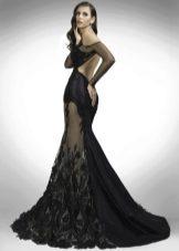 Платье вечернее с кружевными вставками