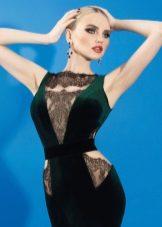 Платье вечернее зеленое с кружевными вставками