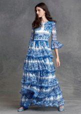 Вечернее платье в пол с рукавами летнее