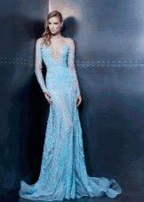 Вечернее платье в пол с рукавами из шелка