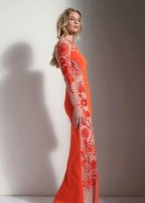 Вечернее платье в пол с  рукавами оранжевое