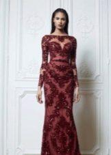 Вечернее платье с рукавами бордовое