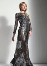 Вечернее платье в пол кружевное черное