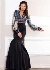 Вечернее платье в пол с рукавами русалка