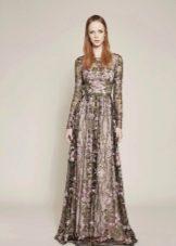 Платье вечернее в пол с цветочным принтом