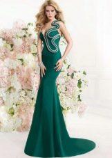 Вечернее зеленое платье оригинальное