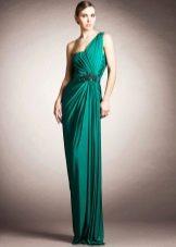 Вечернее платье зеленое на одно плечо